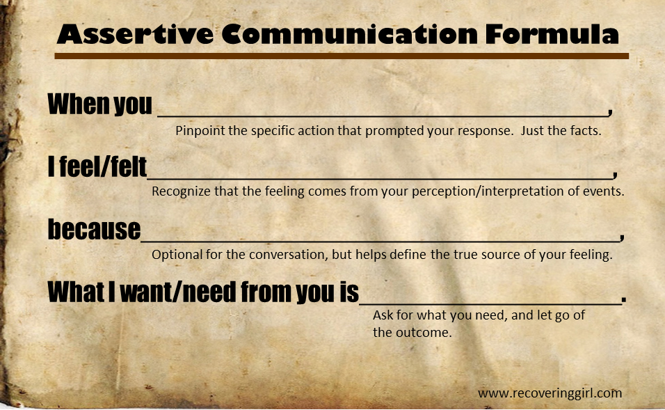 Assertive Communication Formula – Assertive Communication Worksheets