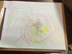 This is a drawing of my inner child and safe space environment from a therapy session.